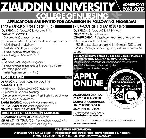Zia Uddin Medical College Admission 2018 Nursing Diploma Eligibility Criteria