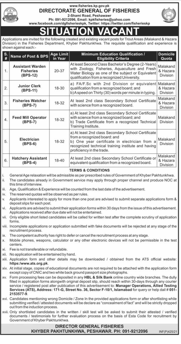 Fisheries Department KPK Peshawar Jobs 2021 Application Form Eligibility Criteria