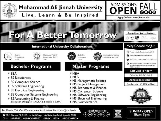 Muhammad Ali Jinnah MAJU University Admission 2018 BBA MBA BS MS Registration