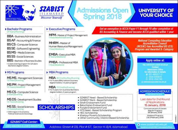 SZABIST Islamabad University Admission Entry Test 2018 Schedule Dates And Sample Papers Download