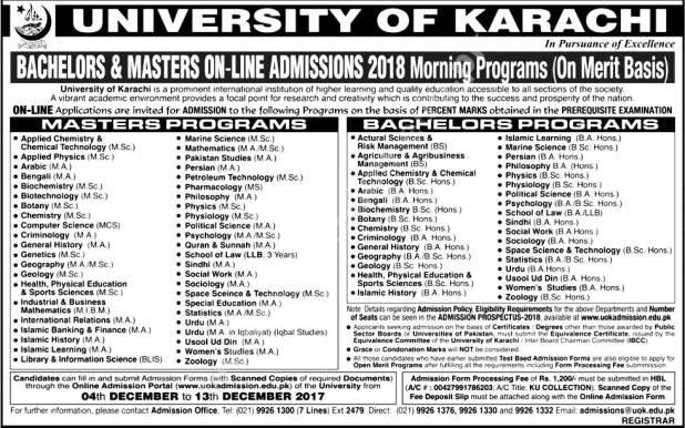 University of Karachi Admissions 2019 Morning Evening Programs