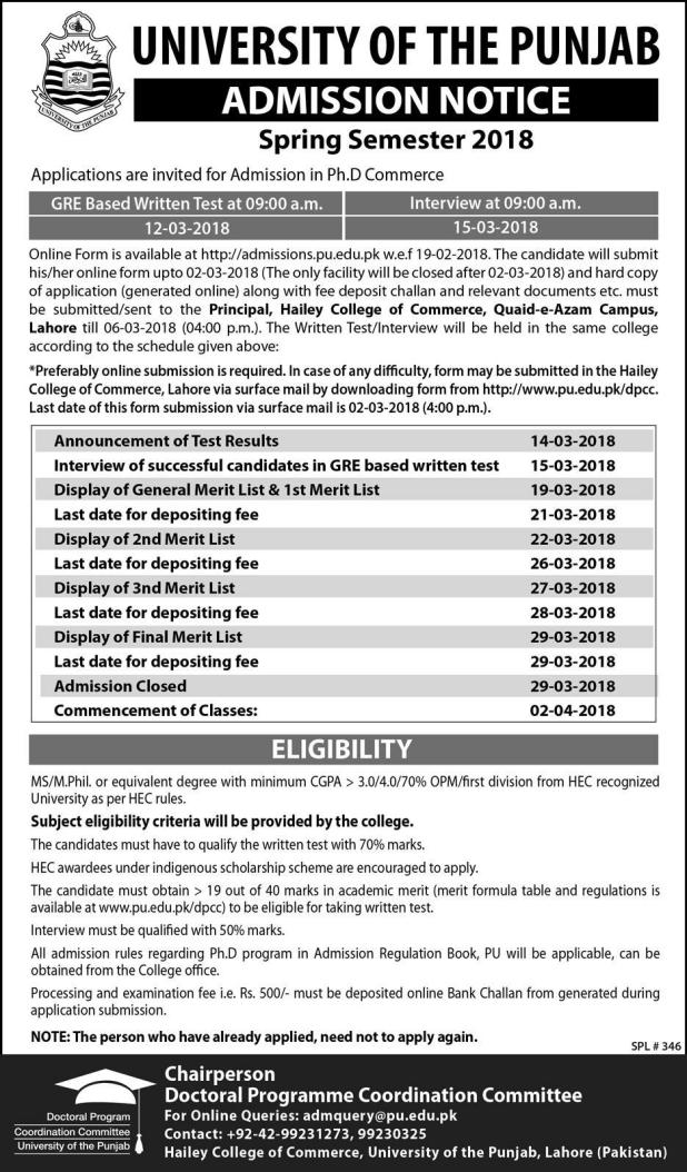 University of The Punjab Lahore Admission 2019 Eligibility Criteria