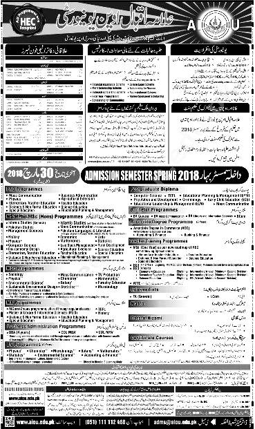 Allama Iqbal Open University AIOU Admission Spring 2019 Form Download Dates and Procedure