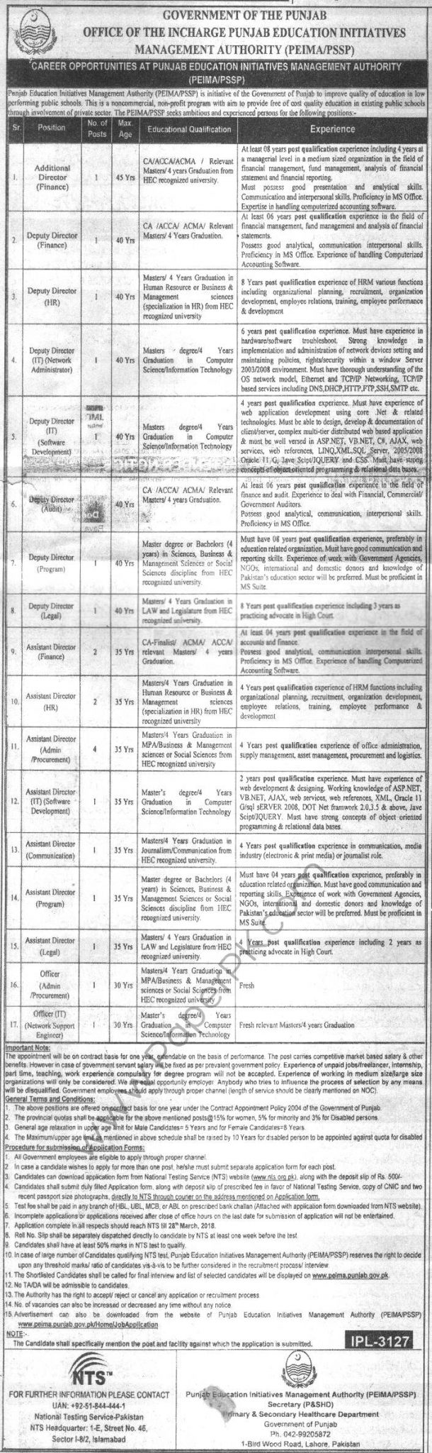 Punjab PEIMA PSSP Govt Jobs NTS Test Answer Key Result 2018 Education Initiatives Management Authority