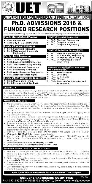 University Engineering And Technology UET Lahore Admission 2019 Funded Research Program