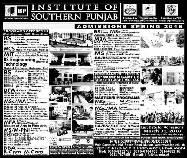 Institute Southern Punjab ISP Admission Spring 2018 Application Form