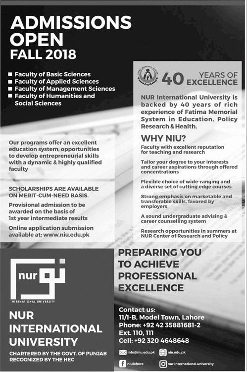 NUR International University Lahore Admission 2019 Undergraduate Graduate Programs