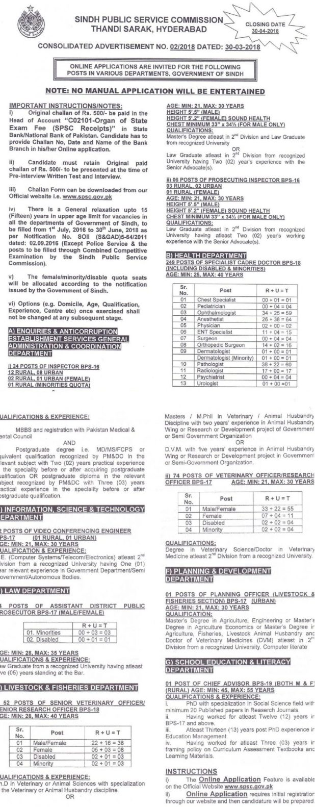 SPSC Sindh Public Service Commission Health Department Jobs 2018 Online Apply