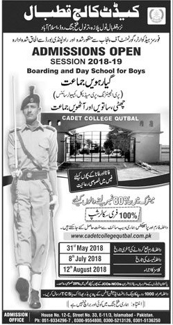 Cadet College Qutbal Admission Session 2018 19 Application Form