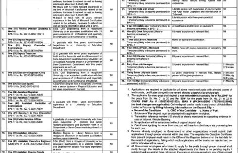 Cholistan University Of Veterinary CUVAS Bahawalpur Jobs 2018