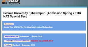 Islamia University Bahawalpur Admission Spring NAT Special Test 2021 Online Apply Form