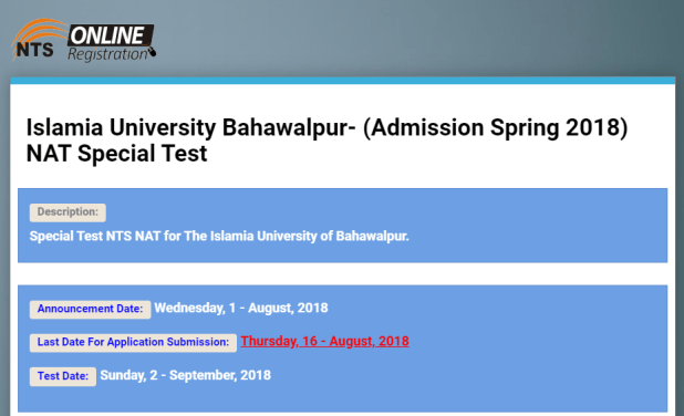 Islamia University Bahawalpur Admission Spring NAT Special Test 2021 Online Apply Form