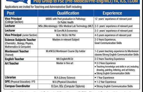 Rawal International School Of Excellence RISE Jobs 2018
