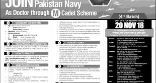 Join Pakistan Navy as Doctor Through M Cadet Scheme Jobs 2021 Online Registration Eligibility Criteria
