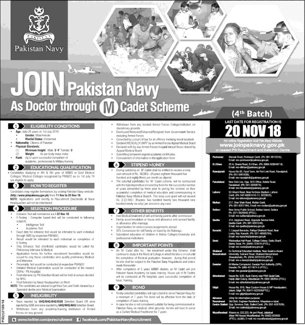 Join Pakistan Navy as Doctor Through M Cadet Scheme Jobs 2018 Online Registration Eligibility Criteria
