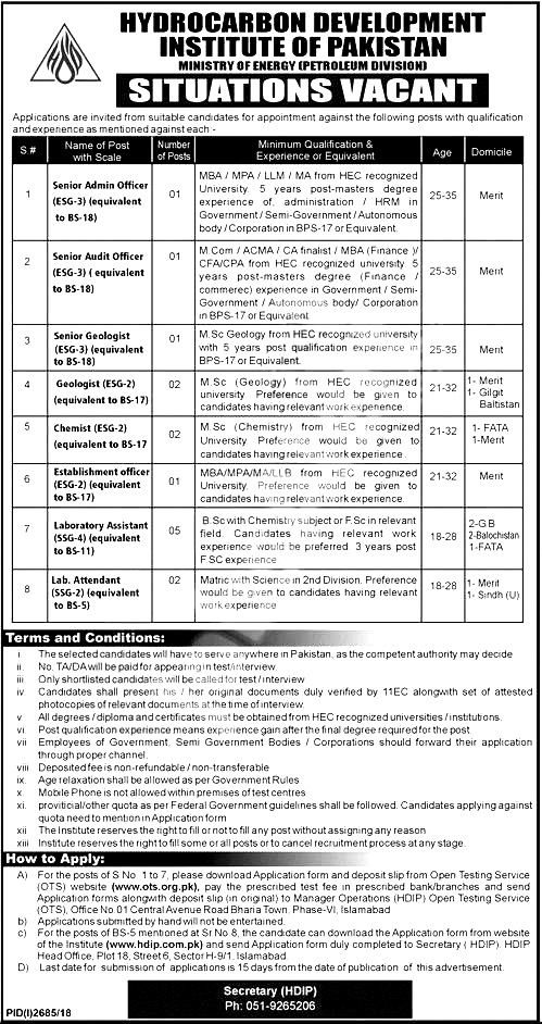 Ministry of Energy Petroleum Division Islamabad Jobs 2018 Terms and Conditions