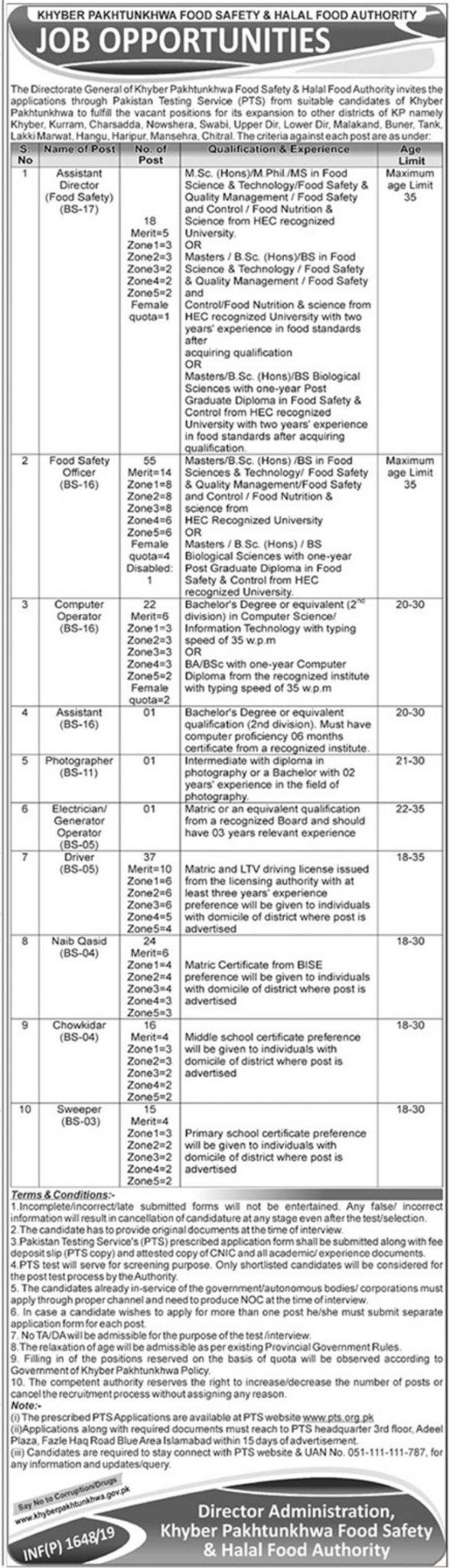 Food Safety and Halal Food Authority KPK Jobs 2019 PTS Test Application Form Roll Number Slips