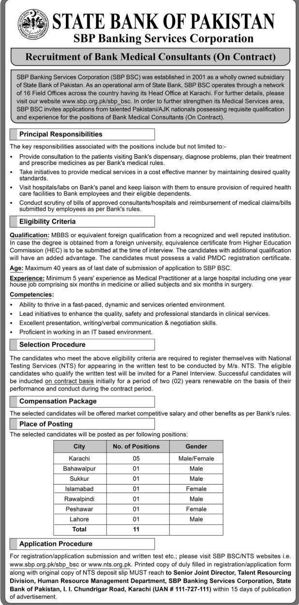 State Bank Pakistan SBP BSC Bank Medical Consultants Jobs 2019 NTS Test Application Form Download Date and Schedule