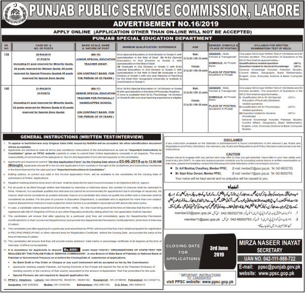 PPSC Punjab Special Education Department Jobs 2019 Online Apply Eligibility Criteria