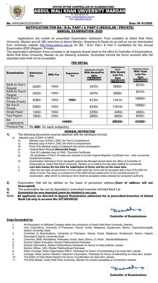 Abdul Wali Khan University Mardan AWKUM BA, BSc, B.Com Admission 2020