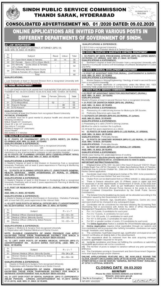 SPSC Sindh Home Department Assistant Sub Inspector Jobs February 2020 Online Registration Eligibility Criteria