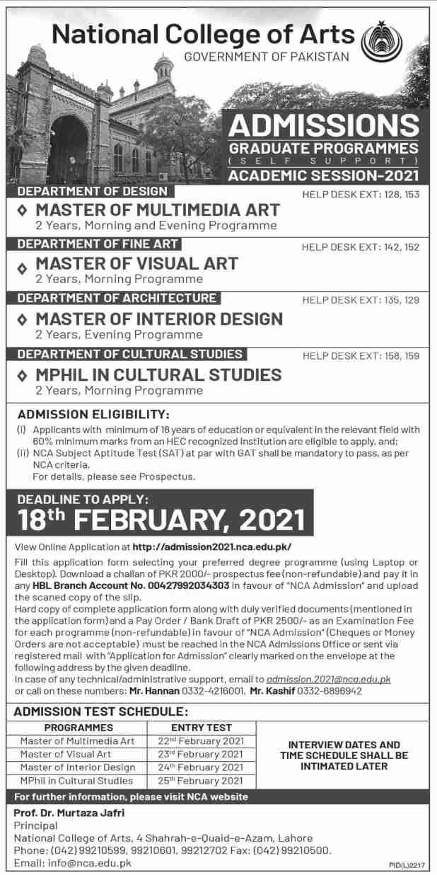 National College of Arts NCA Lahore Admission 2021 Application Form Eligibility Criteria Procedure
