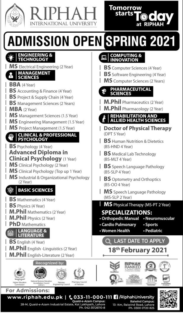 Riphah International University Lahore Admission 2021 Application Form Last Date