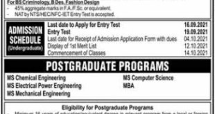 NFC Institute of Engineering and Technological Multan Admission 2021 Eligibility Criteria Application Form Procedure to Apply
