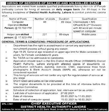 Health Department City District Lahore Jobs 2021 Application Written Test Interview Dates and Schedule