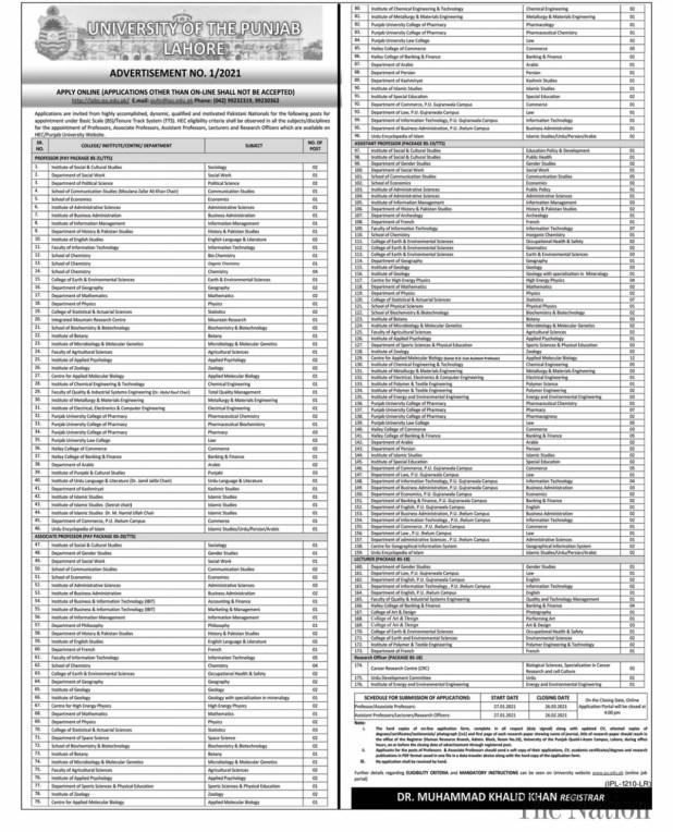Punjab University Lahore PU Jobs 2021 Eligibility Criteria Online Apply Last Date