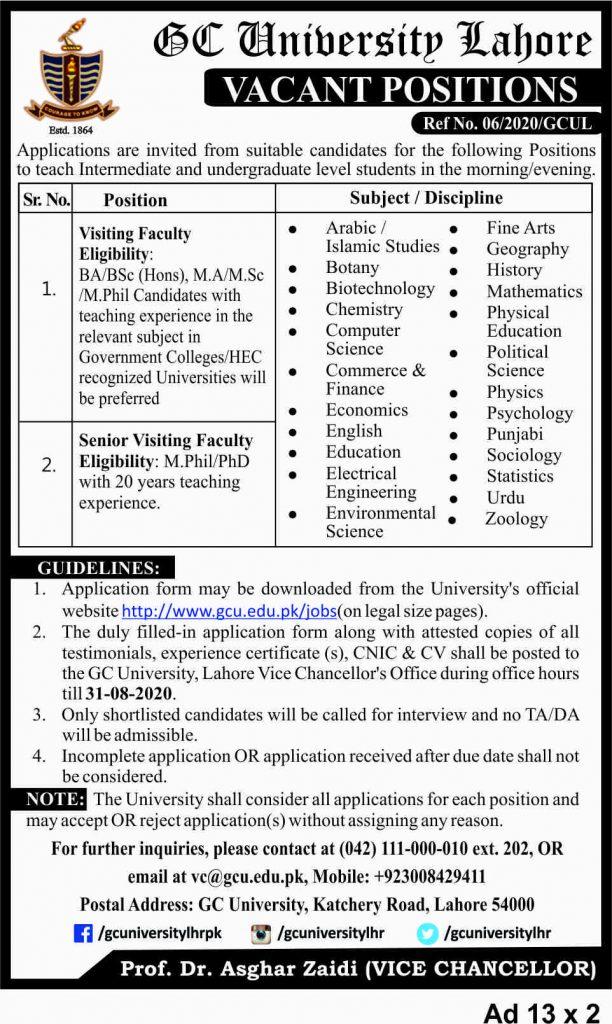 GC University Lahore jobs 2021 Eligibility Criteria Application Form