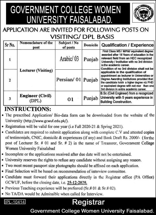 Faisalabad Jobs 2021 Government College Women University GCWUF Applying Procedure