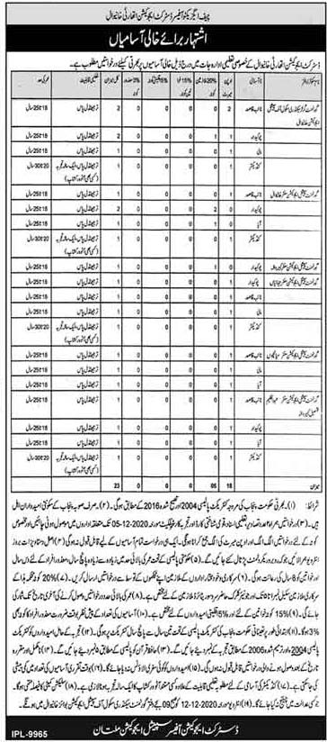 District Education Authority Khanewal Jobs 2020 Application Form Eligibility Criteria
