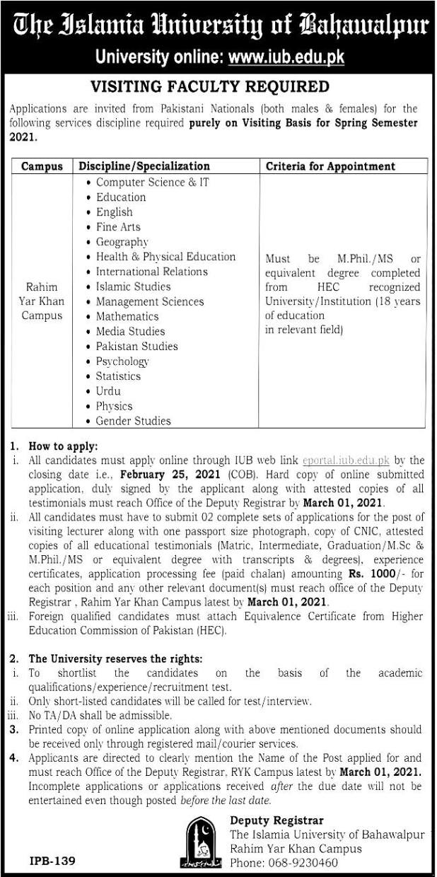 Islamia University Bahawalpur visiting Lecturer Jobs 2021 IUB Online Application Form Eligibility Criteria Dates and Schedule