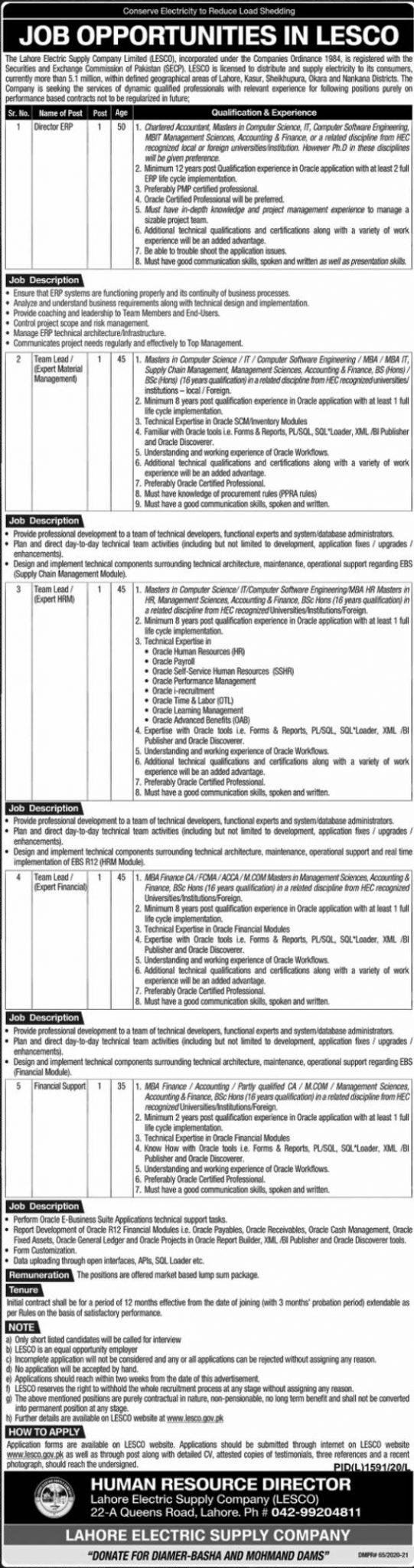 Lahore Electric Supply Company LESCO Jobs 2020 Application Form Eligibility Criteria