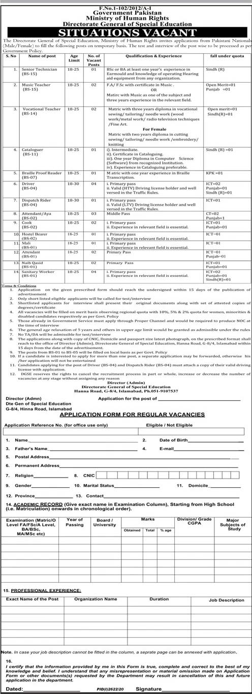 Ministry of Human Rights Jobs 2020 Application Form Eligibility Criteria Last Date