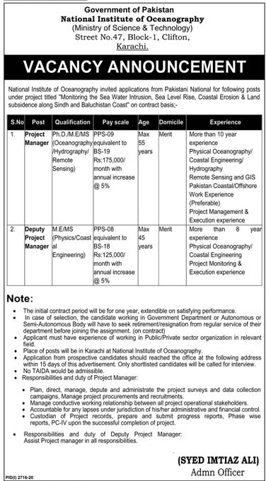 National Institute of Oceanography Karachi Jobs 2021 Application Form Eligibility Criteria