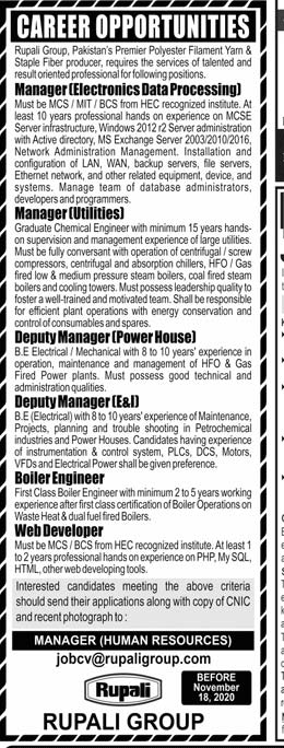 Rupali Group Manager, Deputy Manager, Web Developer Jobs 2021 Application Form Last Date