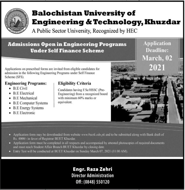 Balochistan University of Engineering and Technology Khuzdar Admission 2021 Eligibility Criteria Form