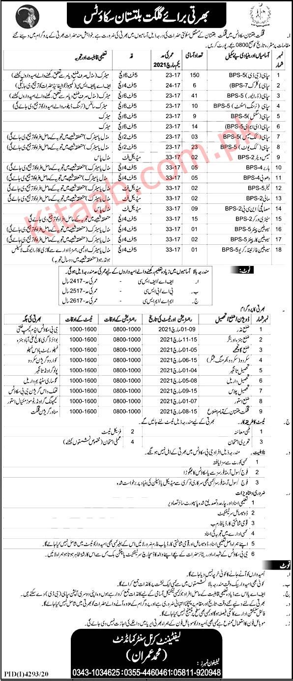 Gilgit Baltistan Scouts Jobs 2021 Application Form Download Eligibility Criteria