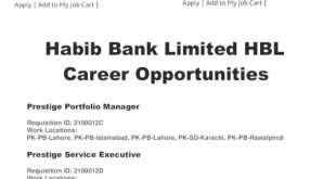 Habib Bank Limited HBL Jobs 2021 Online Apply