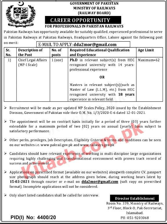 Latest Pakistan Railways Jobs 2021 Application Form Procedure