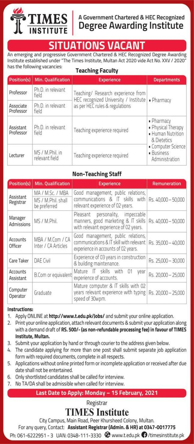 Times Institute Faculty Staff Jobs 2021 Online Apply Eligibility Criteria Last Date