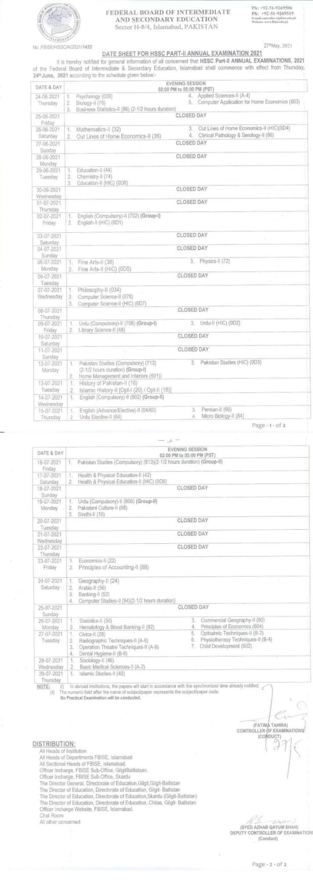 FBISE Federal Board Inter 11th, 12th Date Sheet 2021 FA/FSc Part 1/2 HSSC