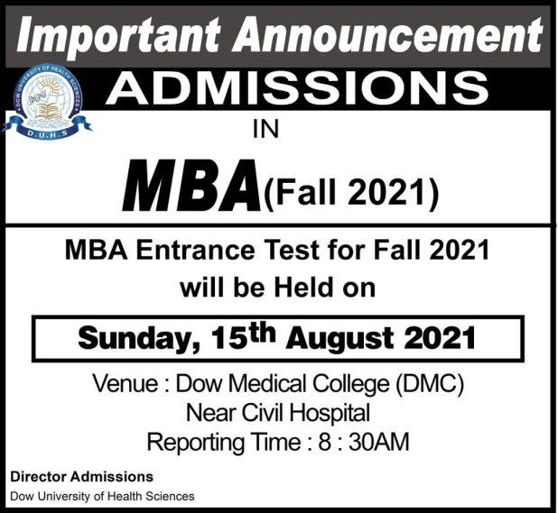 Dow Medical College Karachi Entry Test 2021 Dates & Schedule Merit List