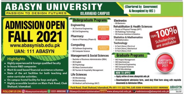 Abasyn University Islamabad Campus Admission 2021 Fee Structure Application Form