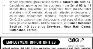 National Logistics Cell NLC Jobs Online Application Form Eligibility Criteria Last Dates