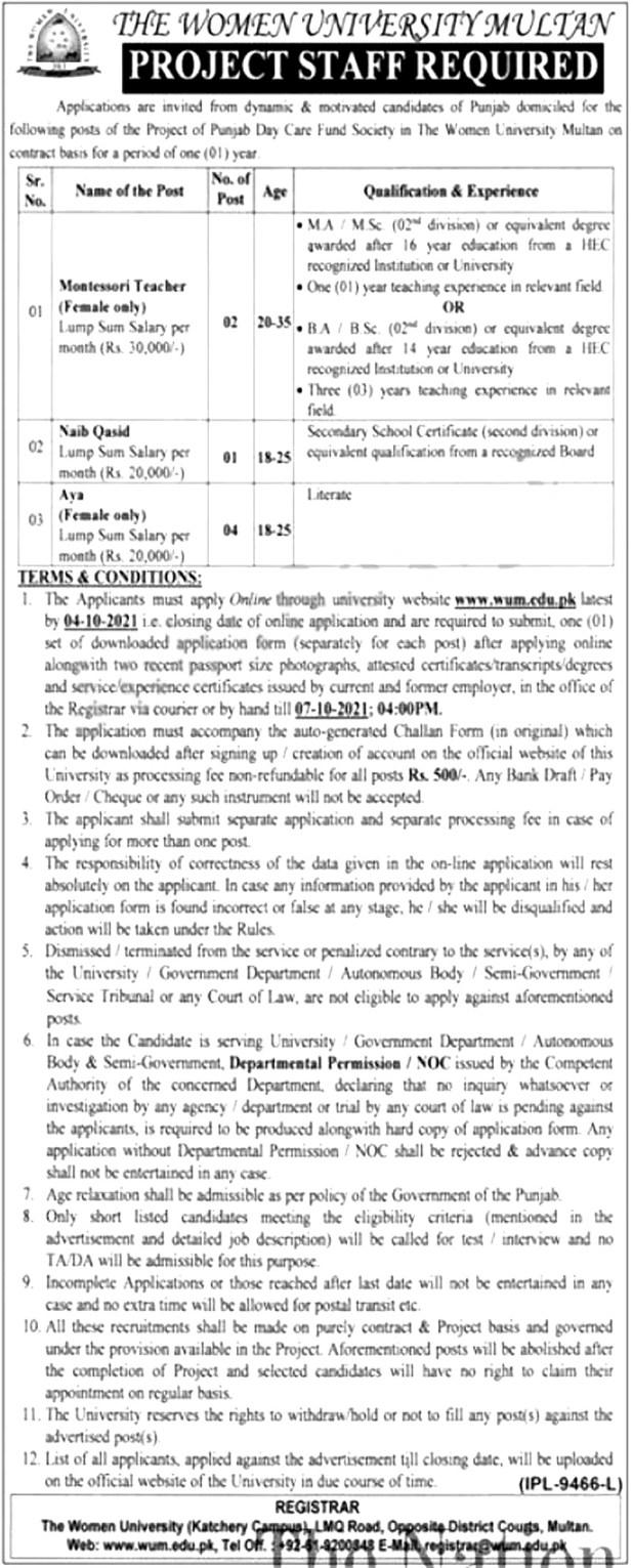 The Women University Multan Jobs 2021 Online Apply Procedure Last Date