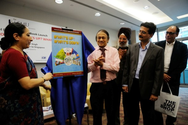 India's High Commissioner to Singapore Vijay Thakur Singh launches the book on Indian socio-economy in Singapore. Joining the launch on 12 September 2014 are Dr V P Nair, President of the Global Organization of People of Indian Origin, book co-author, Gurdip Singh and Sameer Mohindru as well as Vikram Khanna, associate editor of Singapore's Business Times.
