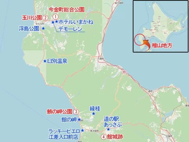 北海道檜山地方の桜スポット相関マップ